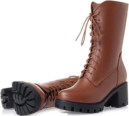 He-yanjing Bottes pour Les Les dames, Chaussures de beauté européennes Bottes en Cuir épaisses avec Bottes Martin Bottes Hiver Plus Bottes Velours Chaudes