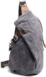 Waterproof Batik Backpack Vintage Chest Bag Men Khaki Canvas Shoulder Bag Casual Dupling Type Backpack (Color : Gray, Size : S)
