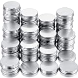 1/2 oz Aluminum Tin Cans Empty Containers Screw Top Round Metal Cans with Screw Lids (48 Pack)