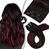 Moresoo 18 Inch Clip in Remy Hair Extensions Balayage Color Off Black #1B to Wine Red #99j Remy Clip in Human Hair Full Head 100 Grams 7Pcs Double Weft Human Hair Extensions