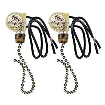 2 Pack Fan-Light Switch & Pull Chain,ZE-109 Fan Light Switch Electrical Pull Chain Switch,ON-Off 6 A/125V AC 6 inch Wire Terminal Wall Lamps Switch Cabinet Light Switch  Antique Brass Pull Chain