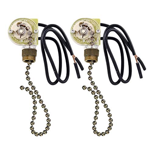 2 Pack Fan-Light Switch & Pull Chain,ZE-109 Fan Light Switch, Electrical Pull Chain Switch,ON-Off, 6 A/125V AC, 6 inch Wire Terminal Wall Lamps Switch, Cabinet Light Switch (Antique Brass Pull Chain)