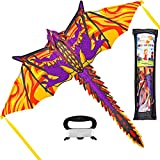 JOYIN 3D Dragon Kite Easy to Fly Huge Kites for Kids and Adults with 262.5 ft Kite String, Large Beach Kite for Outdoor Games and Activities