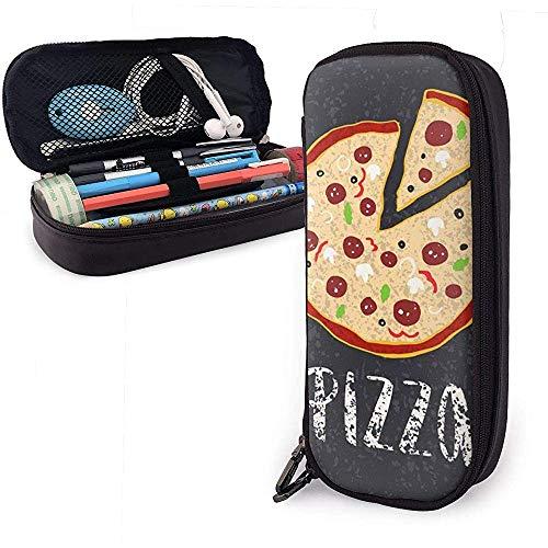 Pizza-brievenbus met handgetekende pizzacirkel lederen etui zak met ritssluiting pennendoos schoolbenodigdheden, briefpapier nanotechnologie