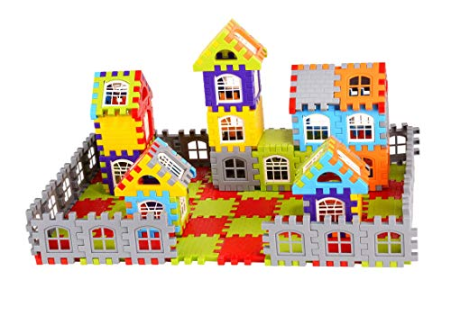 AdiChai Multi Colored 72 Pcs Mega Jumbo Happy Home House Building Blocks with Attractive Windows and Smooth Rounded Edges - Building Blocks Toys and Games for Kids (72 Blocks) - Blocks Game