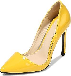 MLyzhe Scarpe Da Donna Con Tacco Alto Stiletto Stiletto Punta Chiusa Slip-On Caviglia Piattaforma Alta Scarpe Da Sera Scar...