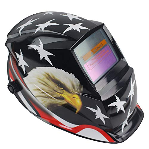 Geelife Solar Powered Welding Helmet Auto Darkening Hood with Adjustable Shade Range 4/9-13 for Mig Tig Arc Welder Mask (Black Eagle)