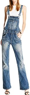 neveraway Women's Straight Leg Denim Pants Washed Jeans Relaxed-Fit Bib Playsuit