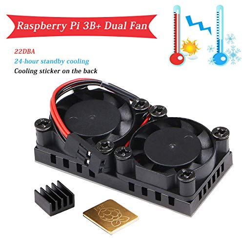 MakerHawk Raspberry Pi 3 B+ Dual Fan, 5V Raspberry Pi Cooling Fan with 2pcs Heatsink, Ultimate Cooling and 22DBA Quiet Fan for RPI 3 B+