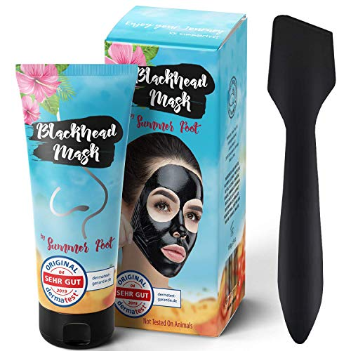 DERMATEST: SEHR GUT I Blackhead Mask By Summer Foot I XXL Packung 100 ml + Spatel I Aktivkohle Peel Off Mask entfernt Mitesser I Schwarze Maske