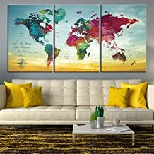 Turquoise World Map Wall Art by My Great Canvas | 3 Piece Multi Panel X-Large Hanging Canvas Print for Home Decor | Track Your Travels with This Colorful Antique Looking Map | Framed & Ready to Hang,
