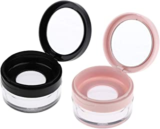 AKOAK 2 Pcs Capacity 20 ml(0.67 oz) Empty Reusable Plastic Loose Powder Compact Container DIY Makeup Powder Case with Sponge Powder Puff,Mirror and Elasticated Net Sifter