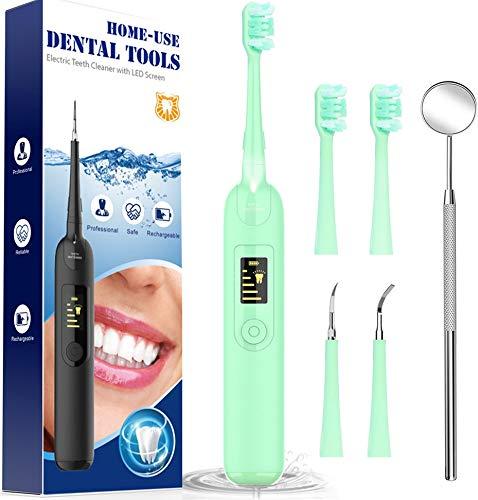Cepillos de Dientes, Breett Limpieza de los Dientes Cepillos Dentales, Limpieza Dental Bucal Limpiador con 5 Modos de Cepillado, 4 Recambio Cabezales kit Limpieza Dental 5 in 1 Verde
