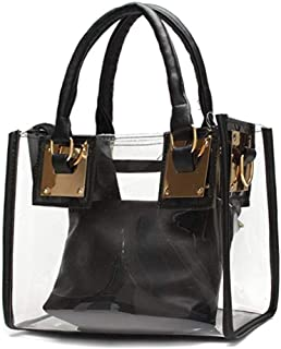 2Pcs Women Clear Jelly Tote Beach Crossbody Transparent Messenger Shoulder Bag Handbag