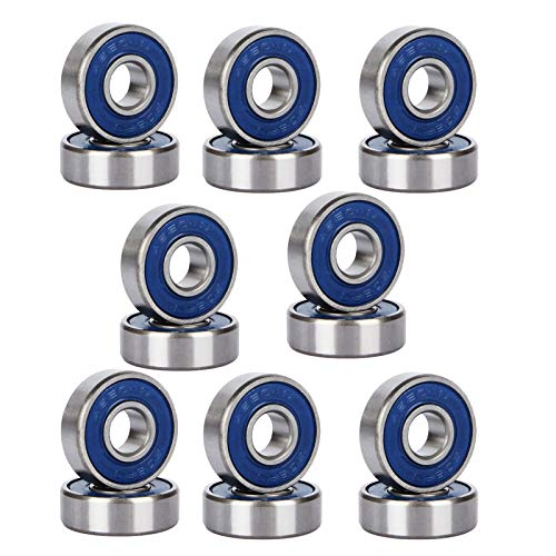 GJCrafts 16 Pieces Bearings Skateboard Bearings 608RS ABEC-9 Longboard Bearings Metal Roller Bearings Metal Double Shielded Miniature Deep Groove Bearings for Skateboards, Inline Skates and Scooters