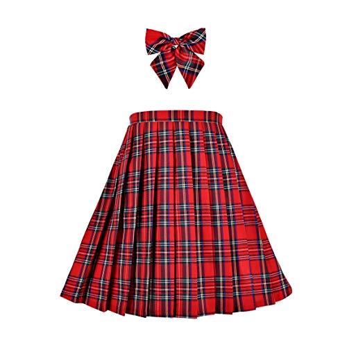 Mädchen Rock Kinder Schuluniform Set rot Tartan Faltenrock Tartan Rock Karierte Rock Gr. 128-134