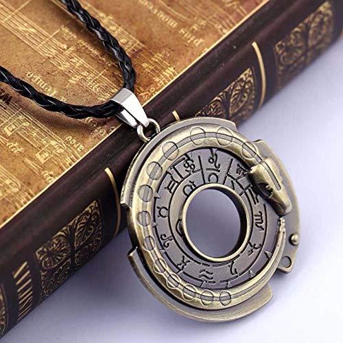 Moda Ouroboros Serpiente Runa Cuerda Redonda Collares y Colgantes de Cuero Amuleto joyería Protectora de la Suerte en el Cuello para niñas