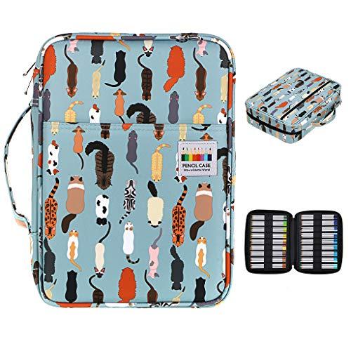 BTSKY Colored Pencil Case 220 Slots Pen Pencil Bag Organizer with Handy Wrap Portable- Multilayer Holder for Prismacolor Crayola Colored Pencils & Gel Pen Cats