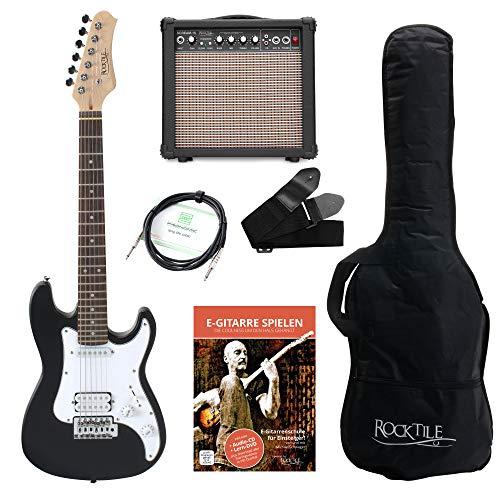 Rocktile Sphere Junior guitarra electronica 3/4 negro SET incl. amplificador, cable y correa