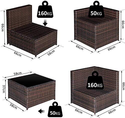 Jardín Muebles de terraza Cubiertas del Amortiguador del sofá y Mesa de 6 plazas de Asiento de la Esquina de Mimbre marrón,Black