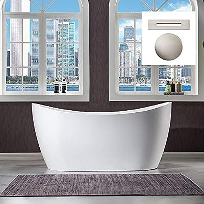 "WOODBRIDGE 59"" Freestanding Bathtub Contemporary Soaking Tub, White Acrylic (Brushed Nickel Drain/Overflow),B0016 B/N Drain &O"