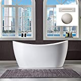 WOODBRIDGE 59' Freestanding Bathtub Contemporary Soaking Tub, White Acrylic (Brushed Nickel Drain/Overflow),B0016 B/N Drain &O