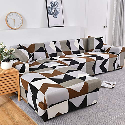 WXQY En Forma de L Necesidad de Comprar 2 Piezas, Esquina de la Sala de Estar Funda de sofá elástica elástica Todo Incluido Funda de sofá a Prueba de Polvo Toalla de sofá A22 3 plazas