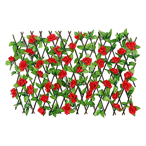 Expandable Fence Privacy Screen for Balcony Patio Outdoor Artificial Flower Fence Wooden Hedge for Garden Decoration (73cmx20cmx2cm, Red)