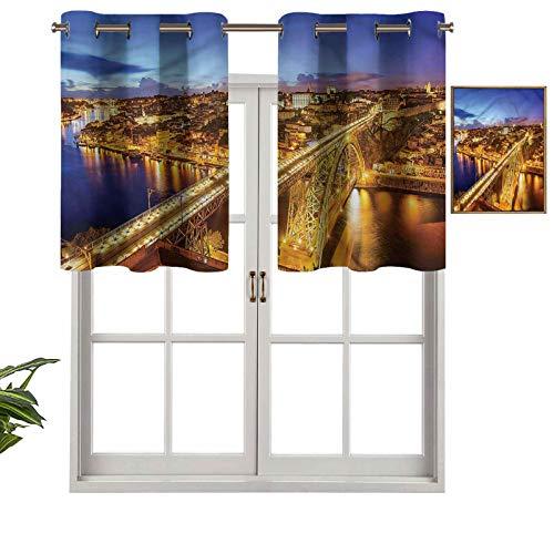 Hiiiman Panel de cortina con ojales de alta calidad Porto Dom Luis Bridge, juego de 1, 137 x 45 cm para decoración de interiores