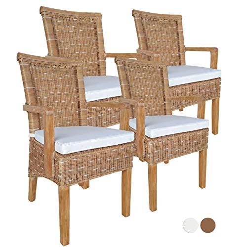 Soma eetkamerstoelen set met armleuningen 4 stuks rotan stoel wit - bruin Perth met/zonder zitkussen, linnen (BxHxL) 57 x 97 x 57 cm cappuccino met zitkussen