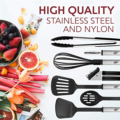 Kitchen Utensil Set 24 Nylon and Stainless Steel Utensil Set, Non-Stick and Heat Resistant and Dishwasher Safe Set, Kitchen Tools, Useful Accessories and Kitchen Gadgets (Black)