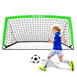 RUNBOW 6'6''X 3'3'' Portable Kids Soccer Goals for Backyard Practice Soccer Nets with Carry Bag, 1 Pack (Green, 6'6''X 3'3'')
