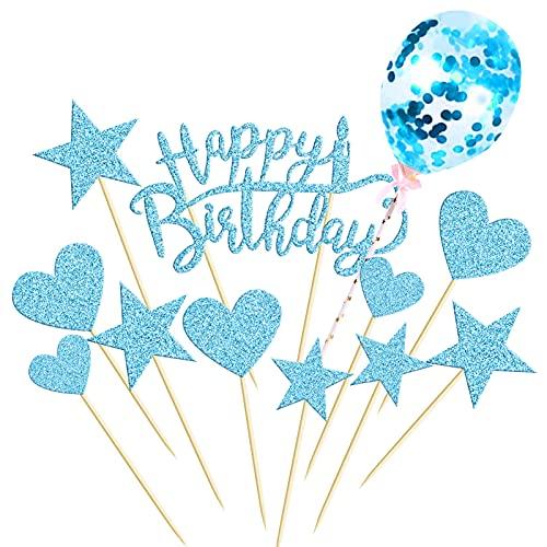 HONGECB Decoración para Tarta, Happy Birthday Cake Topper, decoración para tartas con purpurina, Corazones Estrellas Cake Cupcake Topper cumpleaños, Decoración para Fiesta Aniversario (azul)