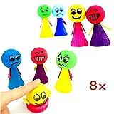 JZK 8 Stücke Klein Emoji Puppen Kinder Jumping Spielzeug Springbälle Hüpfball, Mitgebsel...