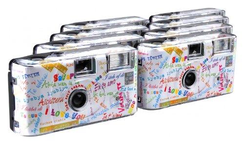 TopShot Lot de 8 appareils Photo jetables pour 27 Photos, avec Flash (Blanc)