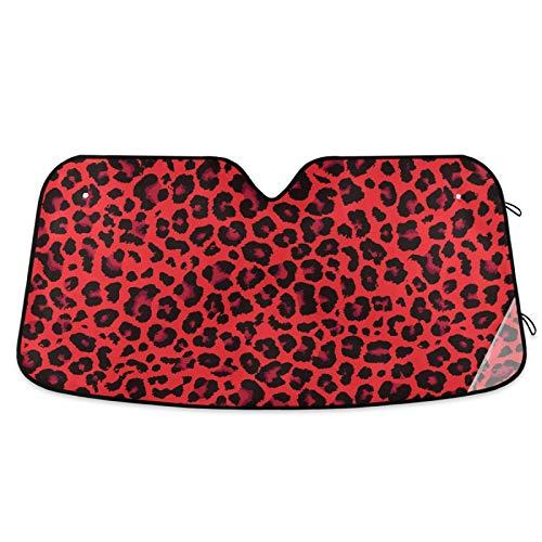 Car Sun Visor Red Leopard Print Cheetah Car Front Windshield Sunshade Accordion Folding Auto Sunshade for Car Truck SUV Keep Your Vehicle Cool 55 x 28 Inch