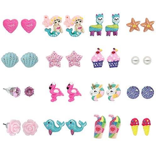 Elesa Miracle Women Girl 16 Pairs Flamingo Mermaid Unicorn Hypoallergenic Stud Earrings Value Set