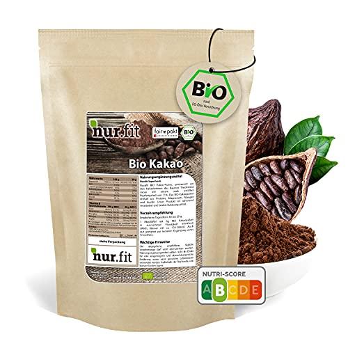 nur.fit by Nurafit BIO cacao in polvere 1kg - cacao crudo naturale a base di fave di cacao senza...