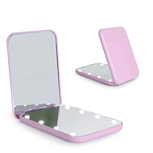 wobsion Compact Mirror, Magnifying Mirror with Light, 1x/3x Handheld 2-Sided Magnetic Switch Fold Mirror,Small Travel Makeup Mirror,Pocket Mirror for Handbag,Purse,Gifts for Girls(Purple)