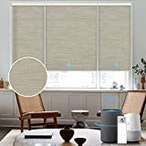 Graywind Motorized Shades 60% Blackout Compatible with Alexa Google Half Shading Remote Control Rechargeable Smart Blinds Automated Window Shade with Valance, Customized Size, Jacquard Coffee