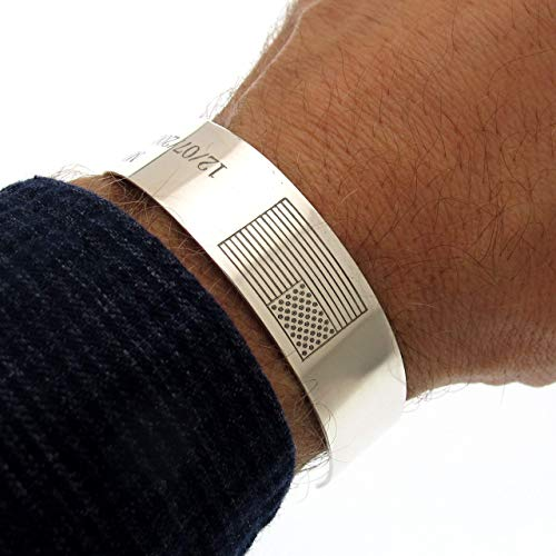 American Flag Bracelet, US army bracelet, Honor the Fallen Bracelet, Gifts for marines, Personalized Mens Cuff, Sterling Silver KIA Bracelet, Military Bracelets