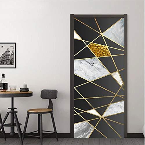 Etiqueta De La Puerta Línea Dorada Moderna Pared De Mármol Geométrica Sala De Estar Cocina Pegatinas De Pared Decoración De Hogar 90 x 200 cm