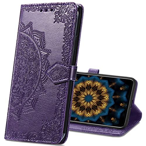 MRSTER Xiaomi Pocophone F1 Hülle, Premium Leder Tasche Flip Wallet Hülle [Standfunktion] [Kartenfächern] PU-Leder Schutzhülle Brieftasche Handyhülle für Xiaomi Pocophone F1. SD Mandala Purple