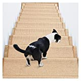 Topshop Peldaños de Escalera de Fibra Natural, peldaños de Escalera de Alfombra de sisal Premium para Seguridad y Belleza, peldaños de Escalera para niños Mayores y Perros (Paquete de 15)