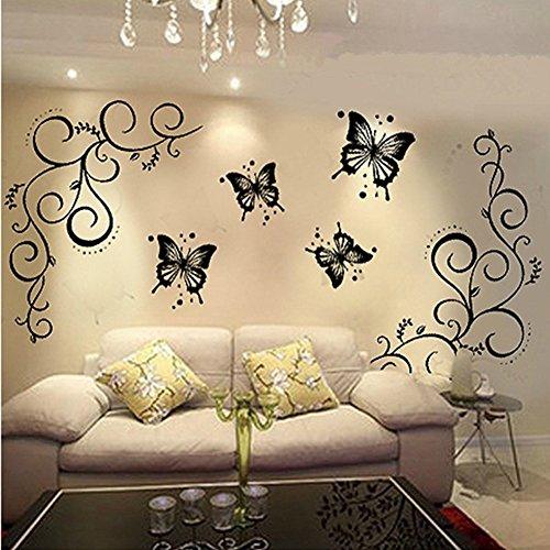 Bodhi2000® - Vinilo Adhesivo para Pared con diseño de Flores y Mariposas