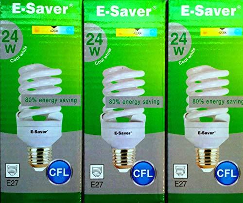 Conjunto de 3/5/6/10 bombillas de bajo consumo, 24W = 120W, luz blanca fría y cálida, diseño de espiral, casquillo BC B22D, Cool White, e27 24.00 wattsW 240.00 voltsV