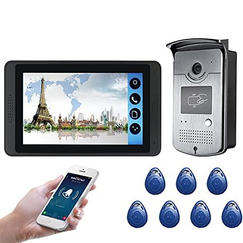Timbre con video wifi, intercomunicador, kit de videoportero, cámara de visión nocturna + monitor de 7 pulgadas, desbloqueo de la APP ID Card