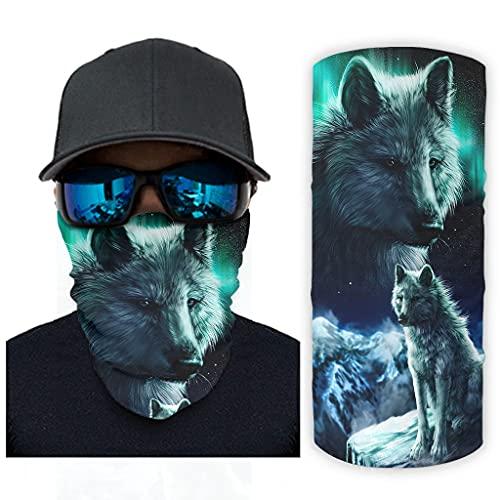 CCMugshop Máscara de cara de lobo Aurora, con luces para el cuello, pulsera UV/Dust White, talla única