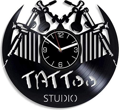 Tatuajes de Vinilo Vintage Reloj de Pared Hecho a Mano Reloj de Pared diseñado con Arte Cumpleaños Navidad Año Nuevo Regalo Arte Personalidad Creativa Decoración del hogar