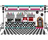 Soda Shop Diner Backdrop for Rock Roll Party 1950s Sock Hop Background Retro Dinner Time Rock Music Classic Birthday Party Decor MEETSIOY 7x5ft LSMT1085